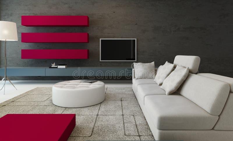 Moderner Wohnzimmerinnenraum mit Steinwand und rotem Schrank lizenzfreie abbildung