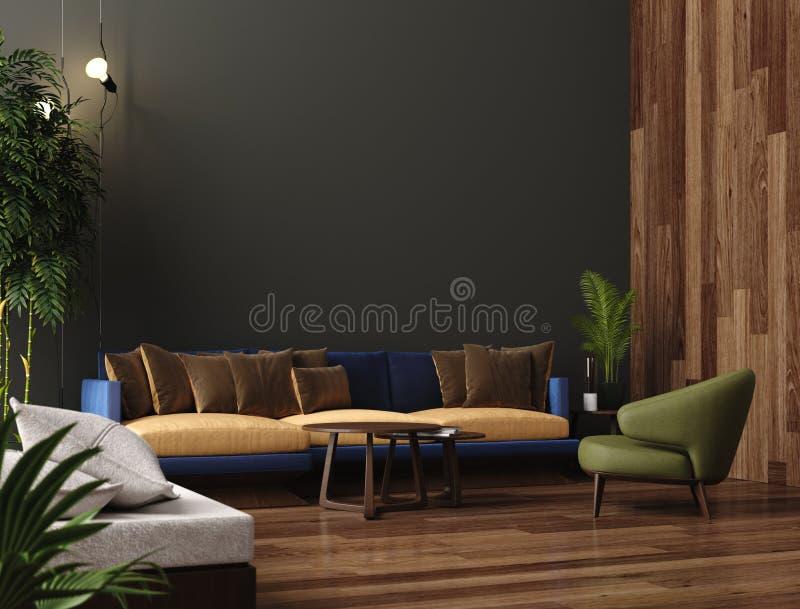 Moderner Wohnzimmerluxusinnenraum, dunkelgrüne braune Wand, modernes Sofa mit Lehnsessel und Anlagen vektor abbildung
