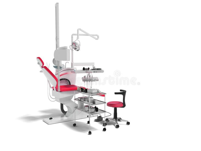 Moderner zahnmedizinischer Stuhl mit Beleuchtung mit Werkzeugen für die Bohrung von Weiß vektor abbildung