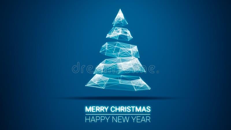 Moderner zukünftiger Weihnachtsbaum und Grußmitteilung der frohen Weihnachten und des guten Rutsch ins Neue Jahr auf blauem Hinte vektor abbildung