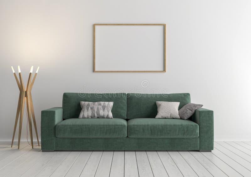 Modernes Ä°nterior mit Sofa, Rahmen, Wiedergabe 3d stock abbildung