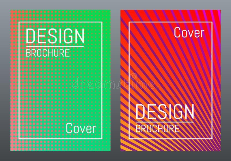 Modernes Abdeckungsdesign Farbbroschürenschablone Bunte Steigungen, Linien und Formen Abstraktes Design für Zeitschrift Vektor lizenzfreie abbildung