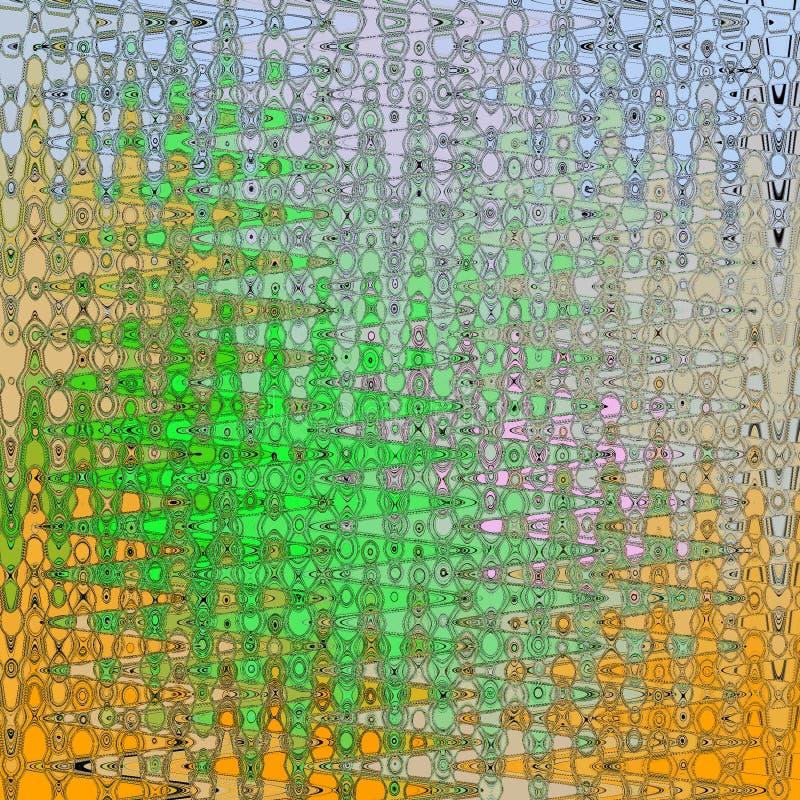 Modernes abstraktes Muster in der bunten Karte auf weißem, orange und grünem Hintergrund für Konzeptdesign lizenzfreie abbildung