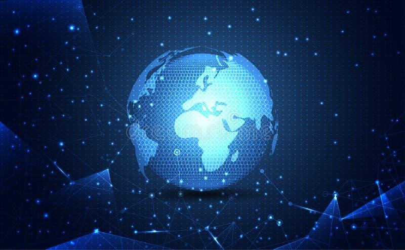 Modernes abstraktes Netzweltwissenschaftsverbindungs-Technologie inte stock abbildung