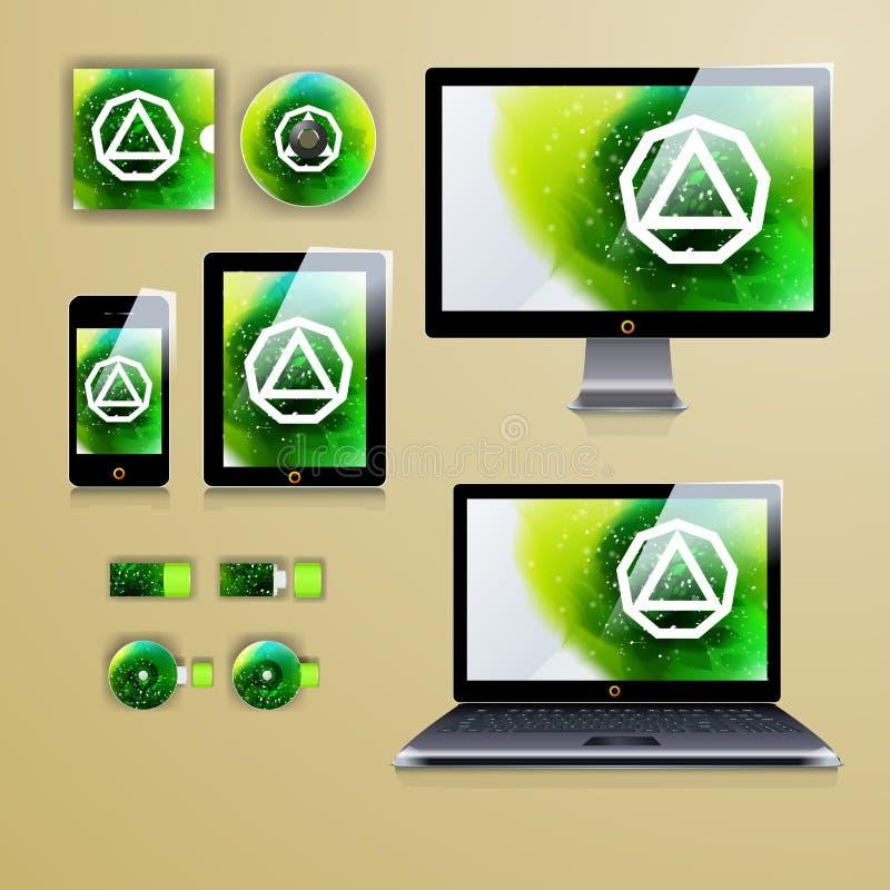 Modernes Anwendungsschablonendesign für Unternehmensidentitä5 Computertabletten- und -telefonsatz lizenzfreie abbildung