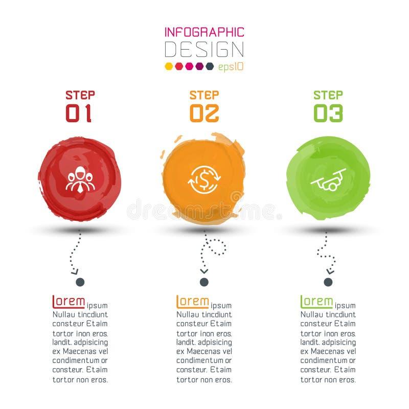 Modernes Aquarellaufkleber infographics auf Vektorkunst stock abbildung