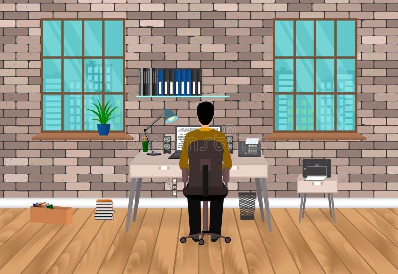 Modernes Arbeitsplatzdesign in der Hippie-Art mit dem Mann, arbeitend an einem Laptop Hauptarbeitsplatzinnenraum im Wohnzimmer vektor abbildung