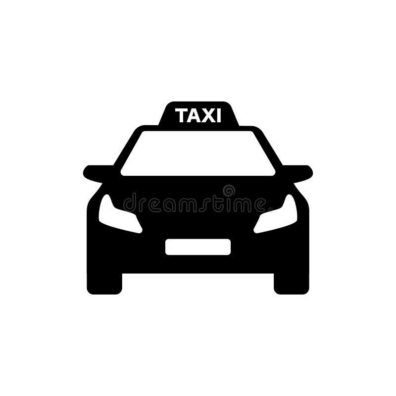 Modernes Auto des Schwarzweiss-Taxilogos lizenzfreie abbildung