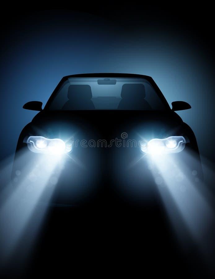 Modernes Auto mit hellen LED-Scheinwerfern vektor abbildung