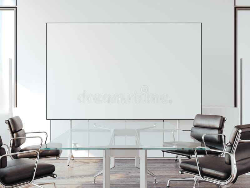 Modernes Büro für Verhandlungen mit whiteboard Wiedergabe 3d lizenzfreie abbildung