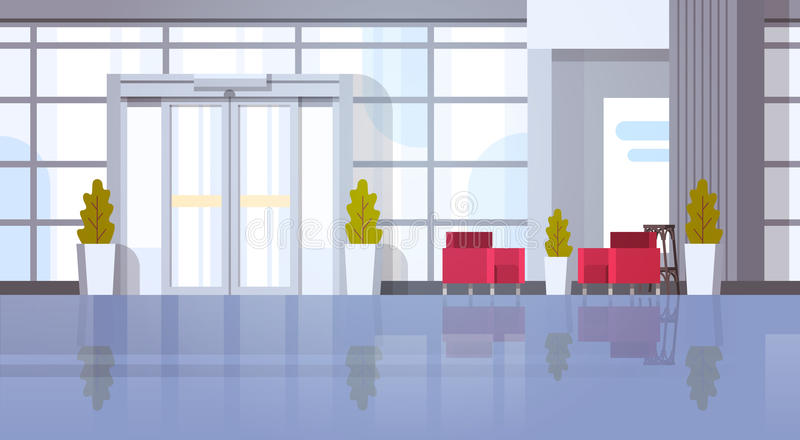 Modernes Büro Hall Building Waiting Room Interior vektor abbildung