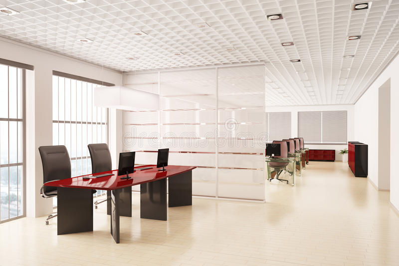 Modernes Büro mit Computern Innen3d stock abbildung