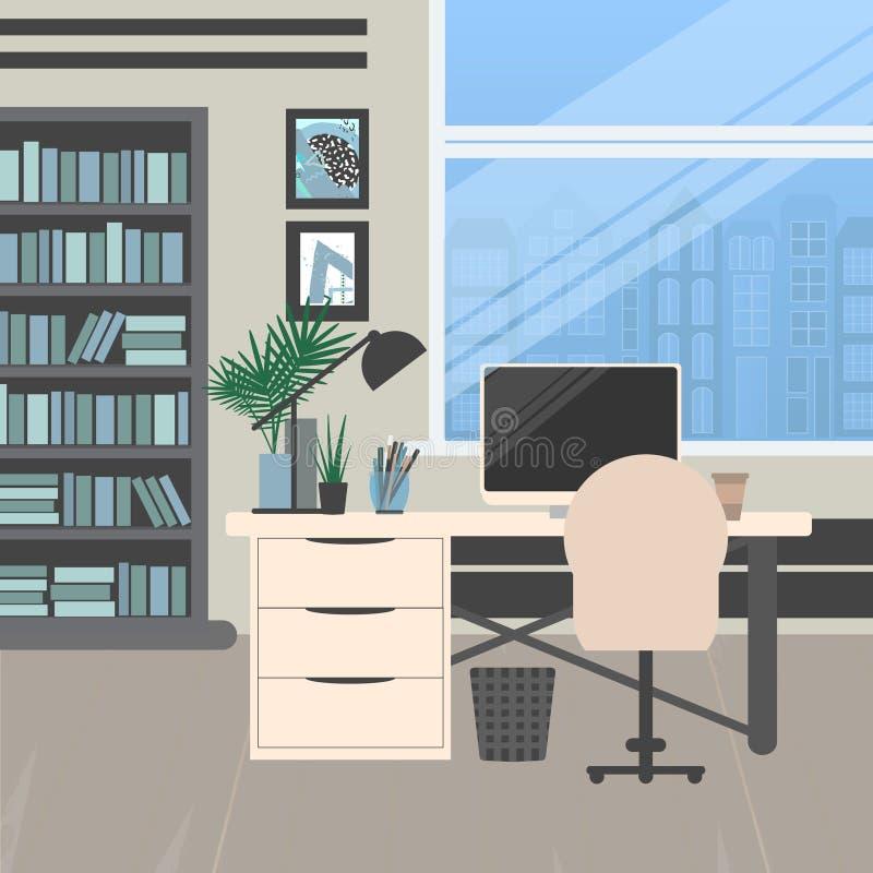 Modernes büro design  Modernes Bürodesign vektor abbildung. Illustration von büro - 90019415