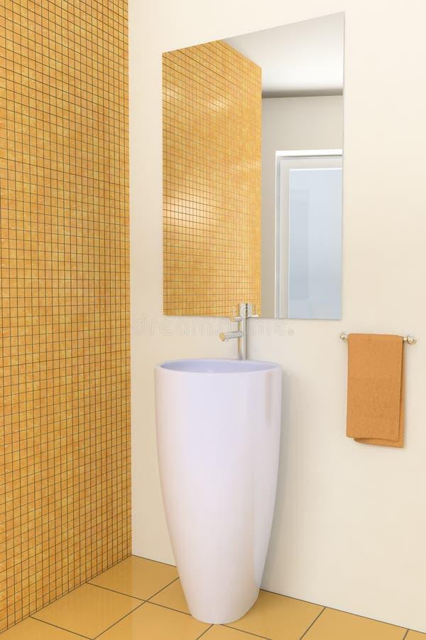 Modernes Badezimmer Mit Beige Fliesen Auf Wand Stock ...