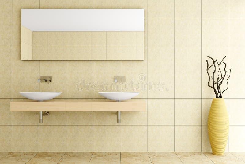 Modernes Badezimmer Mit Beige Fliesen Auf Wand Lizenzfreies ...   {Modernes badezimmer beige 54}
