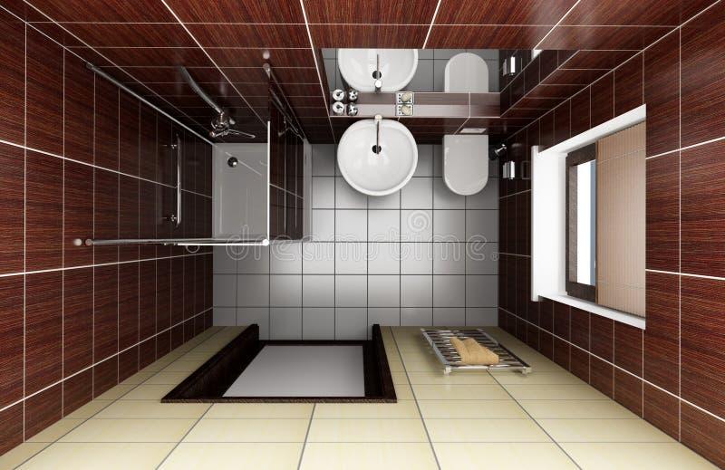 Modernes Badezimmer Mit Braunen Fliesen. Draufsicht Stockfoto