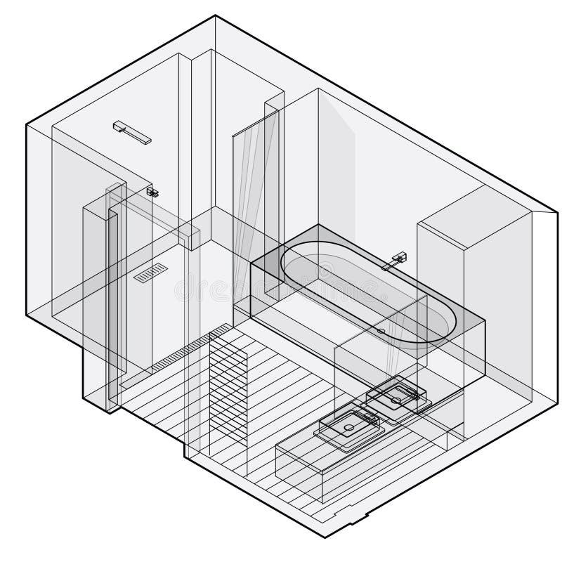 Modernes Badezimmer mit Bretterboden, isometrische Perspektive Umrissene Duscheinschließung vektor abbildung