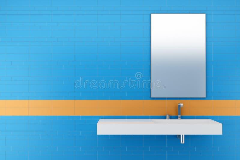 modernes badezimmer mit den blauen und orange fliesen stock abbildung illustration von. Black Bedroom Furniture Sets. Home Design Ideas