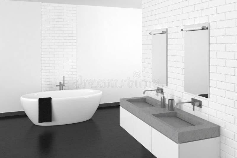 Modernes Badezimmer mit weißer Backsteinmauer und dunklem Boden lizenzfreies stockfoto