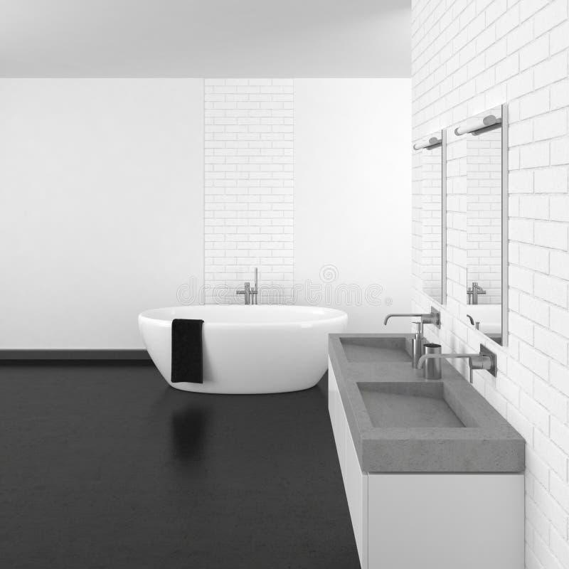 Modernes Badezimmer mit weißer Backsteinmauer und dunklem Boden lizenzfreie stockbilder