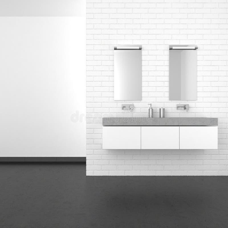 Modernes Badezimmer mit weißer Backsteinmauer und dunklem Boden stockfoto