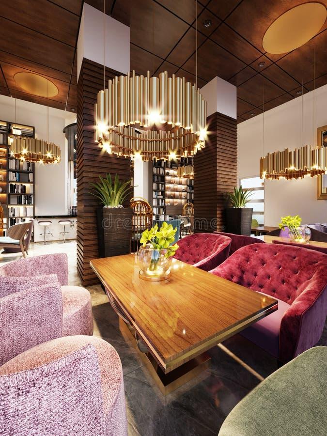 Modernes Barrestaurant in einem modischen Entwurf mit einer Bibliothek und einem Wandschrank mit Büchern lizenzfreie abbildung