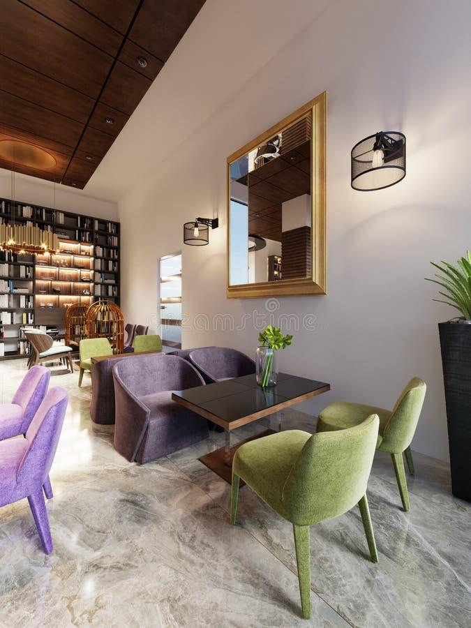 Modernes Barrestaurant in einem modischen Entwurf mit einer Bibliothek und einem Wandschrank mit Büchern vektor abbildung