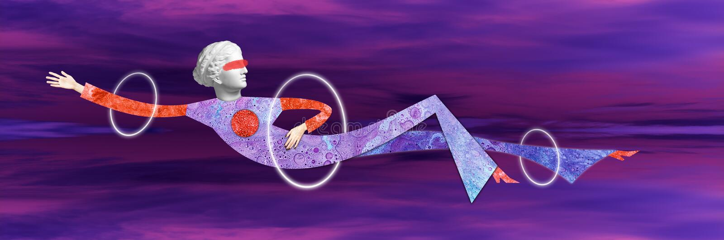 Modernes Begriffskunstplakat mit einer lustigen Puppe in einer massurrealism Art Collage der zeitgen?ssischen Kunst lizenzfreie abbildung