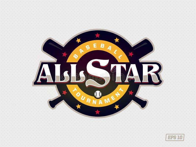 Modernes Berufsemblem All-Star- f?r Baseballspiel im gelben Thema lizenzfreie abbildung