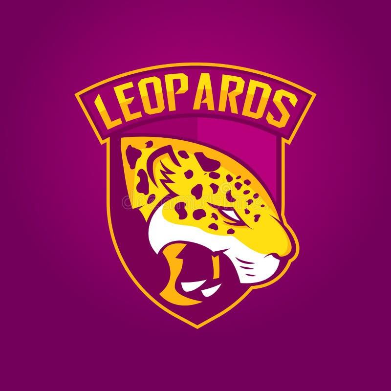 Modernes Berufslogo für Sportteam Leopardmaskottchen Leoparden, Vektorsymbol auf einem dunklen Hintergrund lizenzfreie abbildung