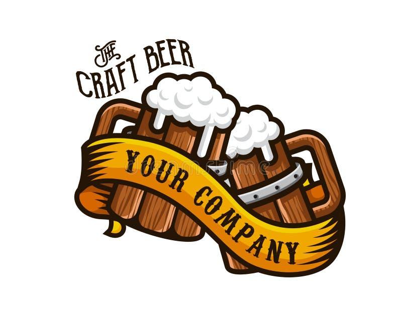 Modernes Bier-und Brauerei-Emblem Logo Design lizenzfreie abbildung