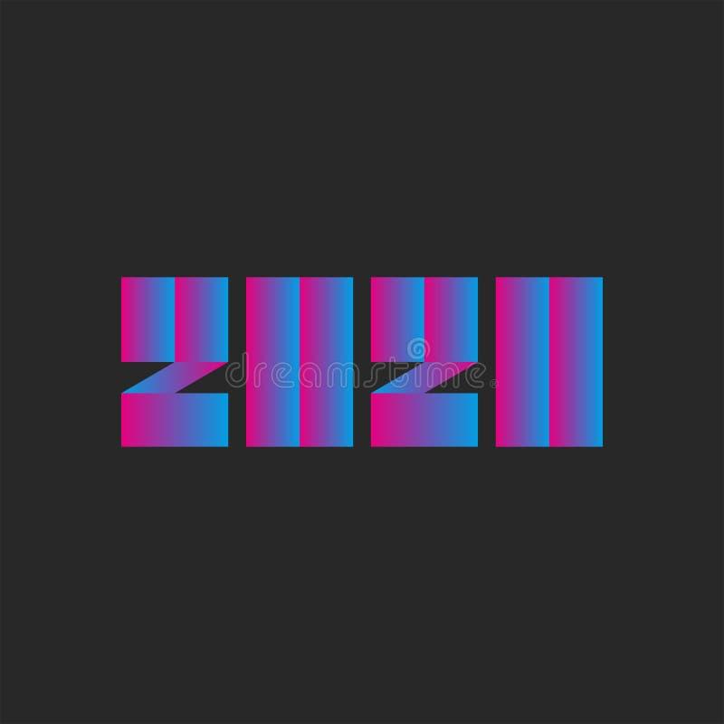 Modernes Blau des Emblems neuen des Jahres der Nr.-2020 und rosa Steigungsfarbe, modisches Logo für Kalender oder dunkler Hinterg stock abbildung