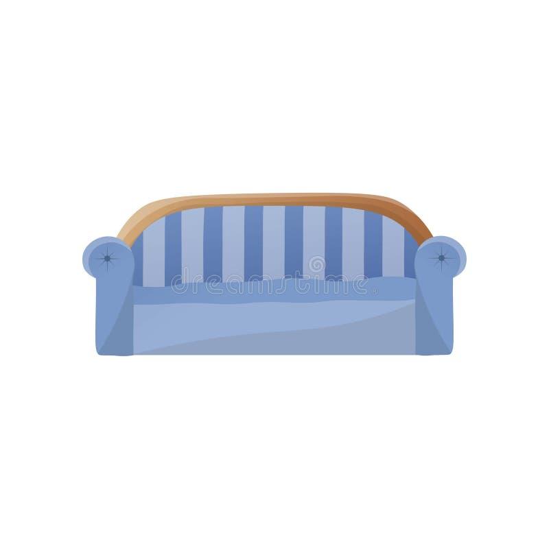 Modernes blaues Sofa mit gewölbter hinterer Schablone lizenzfreie abbildung