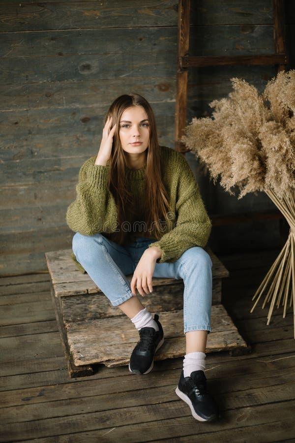 Modernes braunes behaartes träumerisches vorbildliches Mädchen, das auf hölzernem Hintergrundboden sitzt rustikales Studio in dun lizenzfreies stockfoto