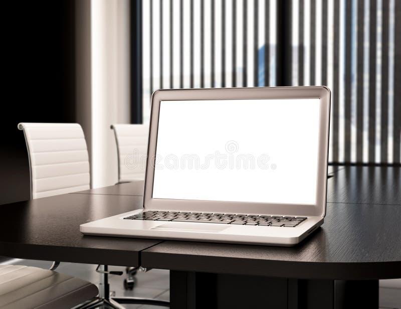 modernes 3D Konferenzzimmer mit leerem Laptopschirm Modell stock abbildung