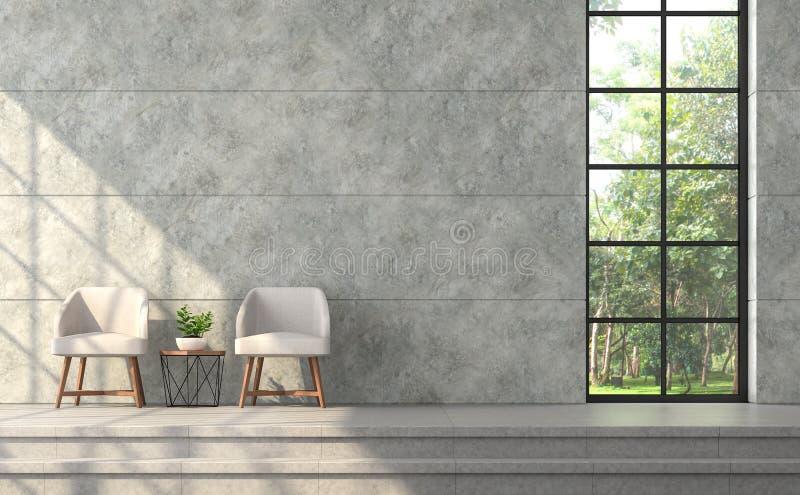 Modernes Dachbodenartwohnzimmer mit Polierbetonmauer 3d übertragen vektor abbildung