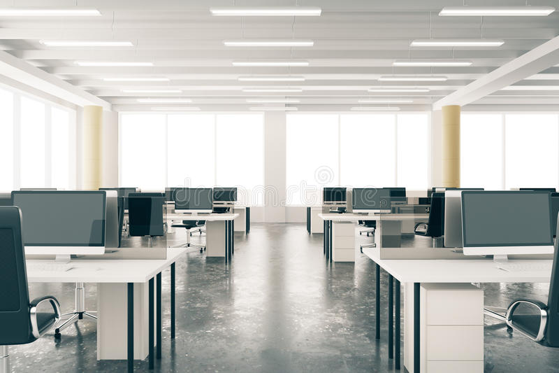 Modernes Dachbodenbüro des offenen Raumes mit Möbeln, konkreter Boden, Bi vektor abbildung