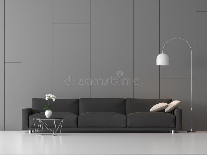 Modernes Dachbodenleben mit gelegentlicher Nut auf grauer Wand 3d übertragen stock abbildung