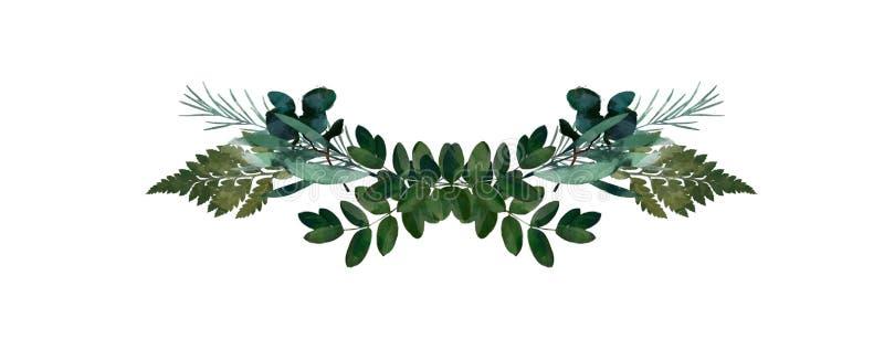 Modernes dekoratives Element des Aquarells Runder grüner Kranz Blatt des Eukalyptus, Grünniederlassungen, Girlande, Grenze, Rahme vektor abbildung