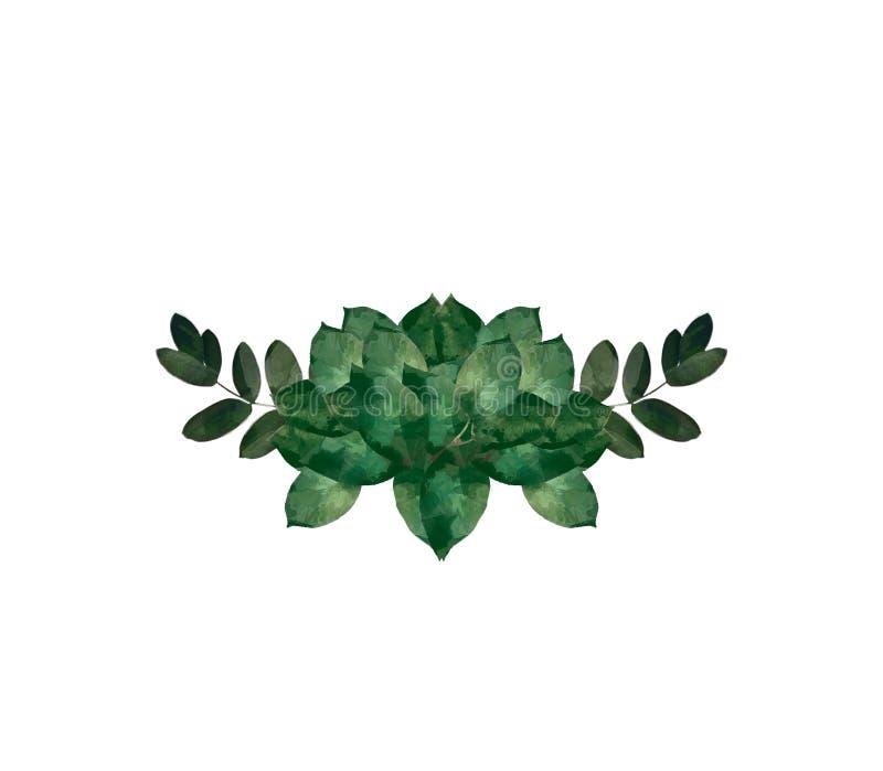 Modernes dekoratives Element des Aquarells Runder grüner Kranz Blatt des Eukalyptus, Grünniederlassungen, Girlande, Grenze, Rahme lizenzfreie abbildung