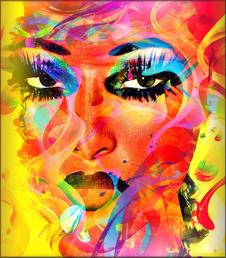 Modernes digitales Kunstbild des Gesichtes einer Frau, Abschluss oben mit abstraktem Hintergrund vektor abbildung