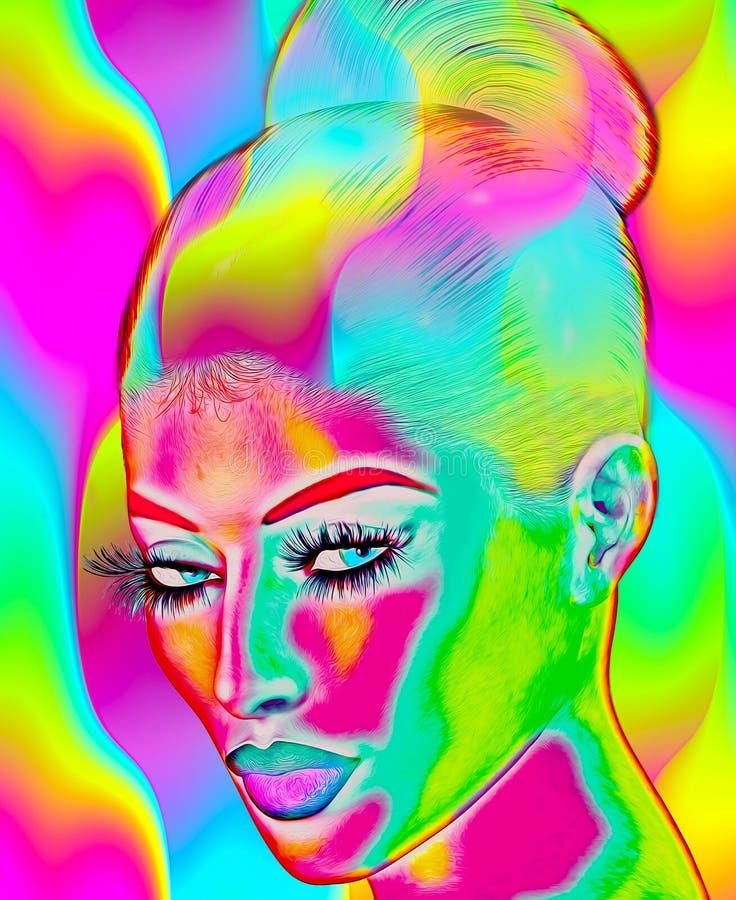 Modernes digitales Kunstbild des Gesichtes einer Frau, Abschluss oben mit buntem abstraktem Hintergrund stock abbildung