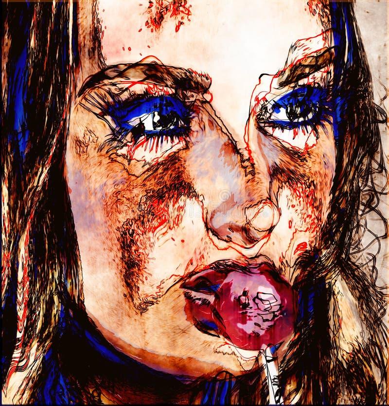 Modernes digitales Kunstbild des Gesichtes einer Frau, Abschluss oben mit buntem abstraktem Hintergrund vektor abbildung