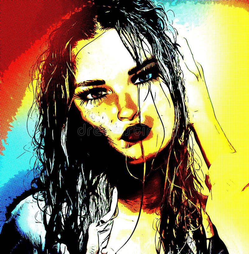 Modernes digitales Kunstbild des Gesichtes einer Frau, Abschluss oben mit buntem abstraktem Hintergrund lizenzfreie abbildung