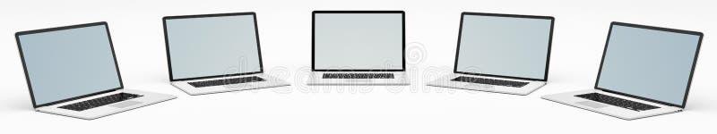 Modernes digitales Silber fünf und schwarze Wiedergabe des Laptops 3D stock abbildung