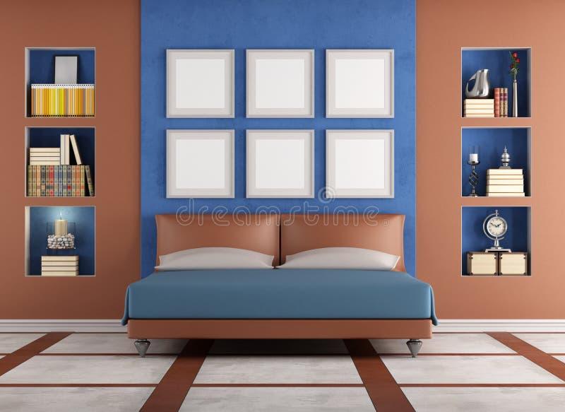 Modernes schlafzimmer blau  Modernes Doppelbett In Einem Eleganten Schlafzimmer Stock Abbildung ...