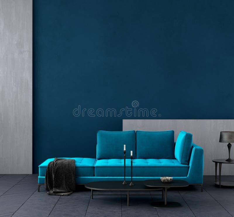 Modernes dunkelblaues Wohnzimmer Innen mit azurblauer Farbcouch, Wandspott oben vektor abbildung