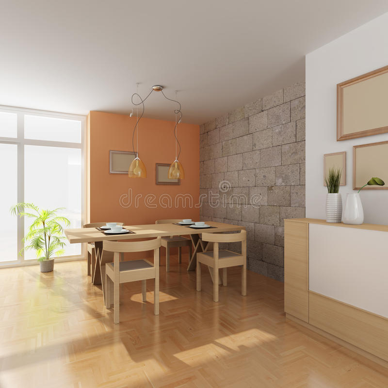 3d übertragen Innenraum Eines Modernen Esszimmers