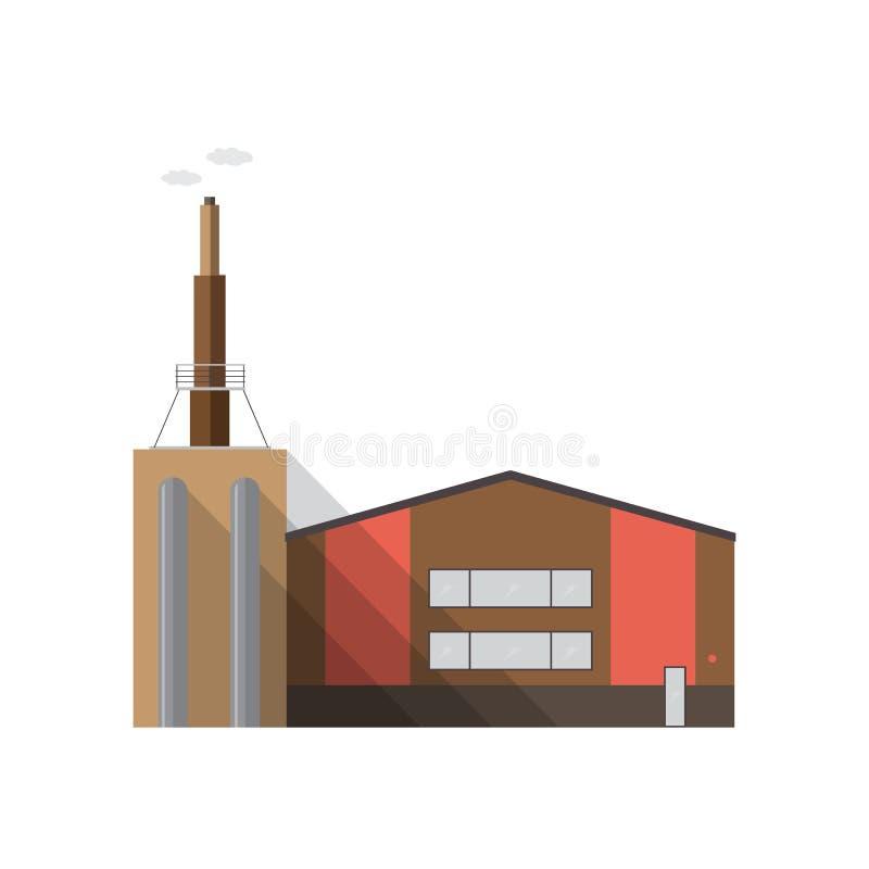 Modernes Fabrikgebäude mit dem Rohr, das den Rauch lokalisiert auf weißem Hintergrund ausstrahlt Produktionsanlage des Zeitgenoss vektor abbildung