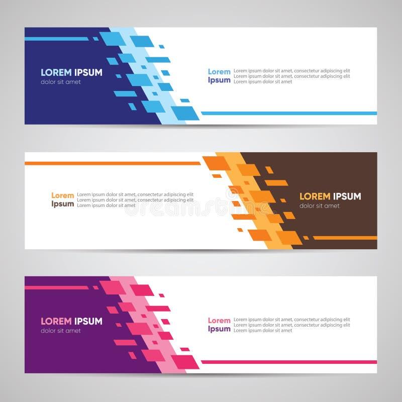 Modernes Fahnendesign Fahnen-Hintergrund-Hintergrund-Titel-Seitenende W stock abbildung